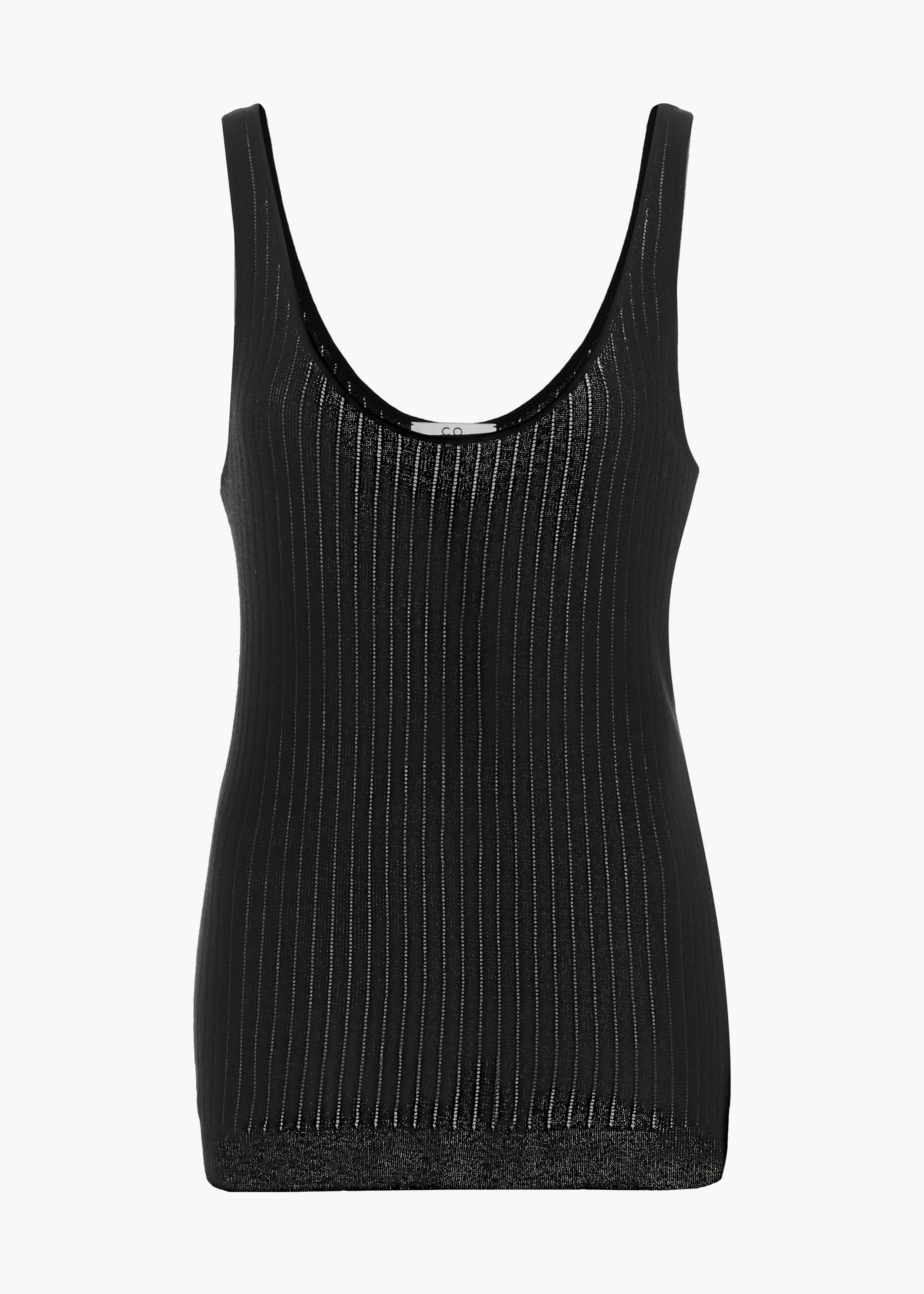 Pointelle Sweater Tank in Cotton - Ivory in Black by Co Collections