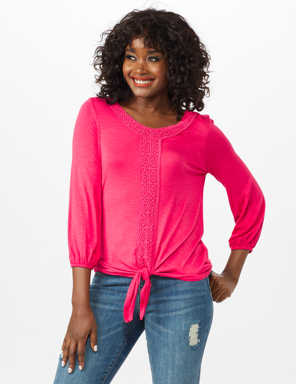 Crochet Trim Tie Front Knit Top -Maui Rose - Front