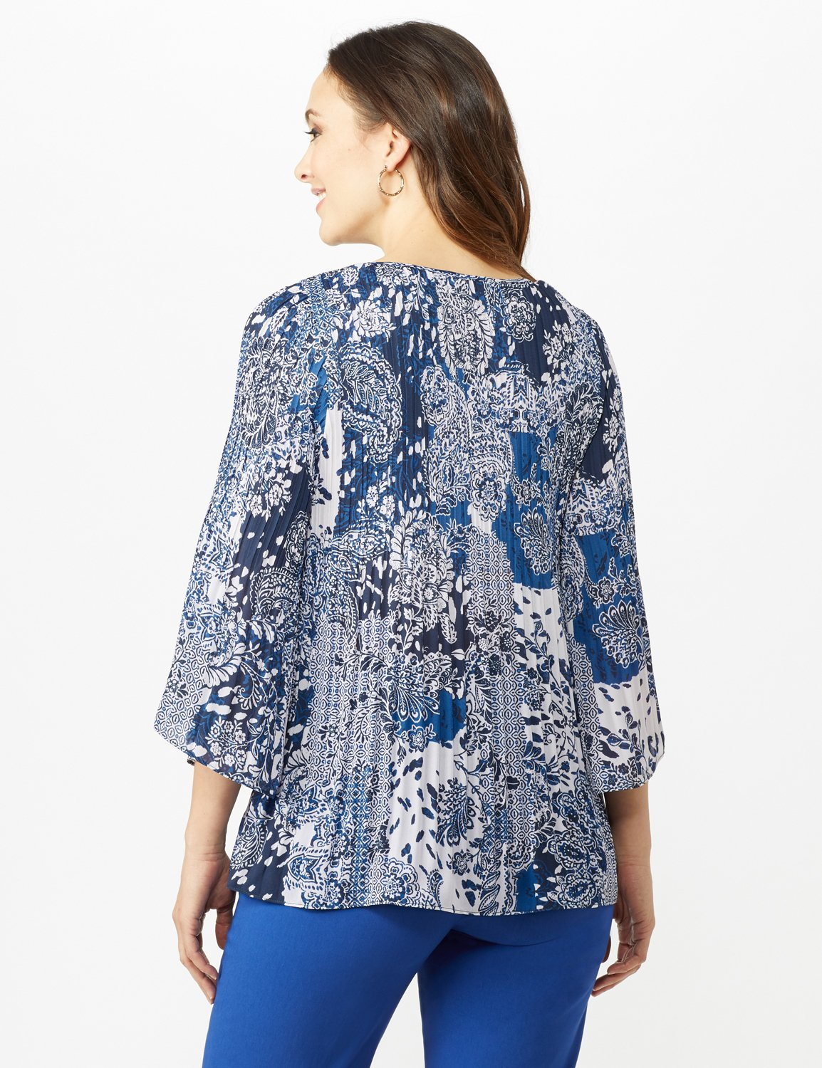 Paisley Box Pleat Blouse -Blue/Ivory - Back