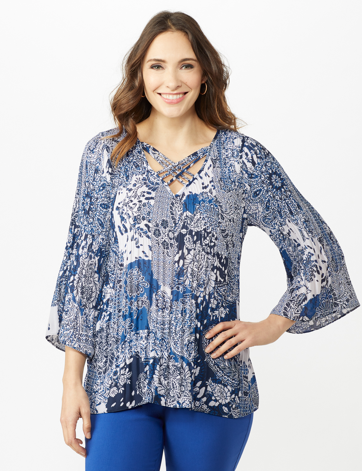 Paisley Box Pleat Blouse -Blue/Ivory - Front