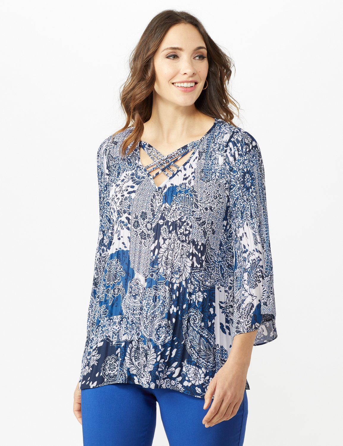 Paisley Box Pleat Blouse - Blue/Ivory - Alternate Image