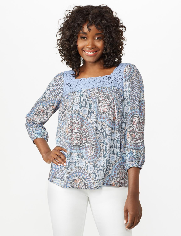 Crochet Trim Floral Square Neck Top -Blue - Front