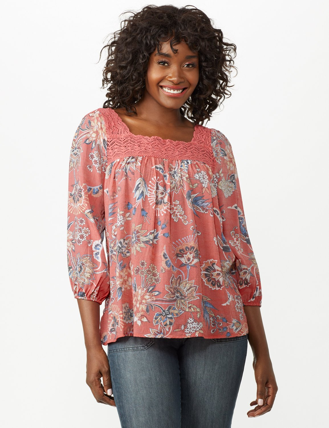 Crochet Trim Floral Square Neck Top -Coral - Front