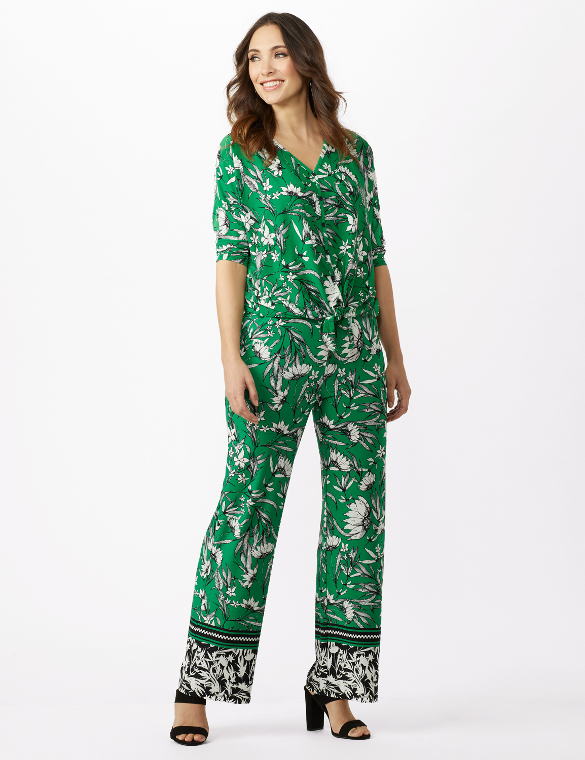 Knit Pull on Print Pant -Green/Black/Ivory - Front