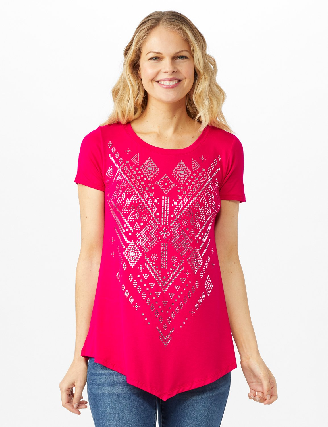 V Front  Knit Screen Tunic -Fuschia - Front