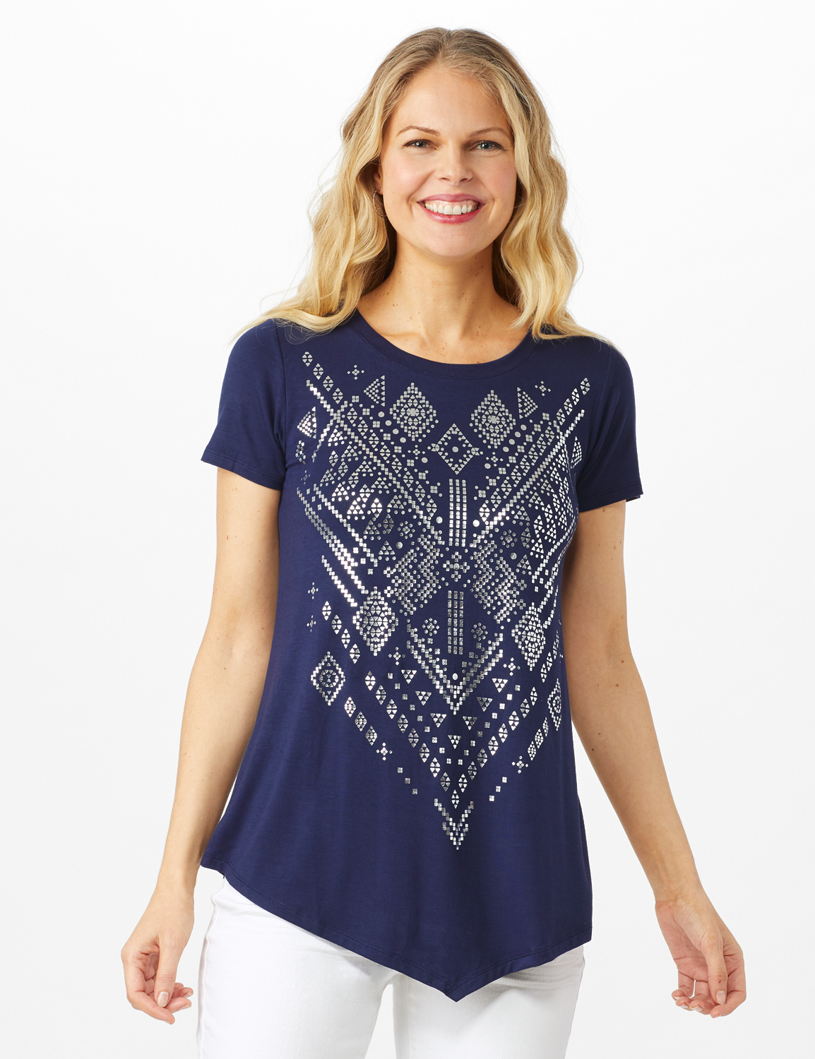 V Front  Knit Screen Tunic -Navy - Front