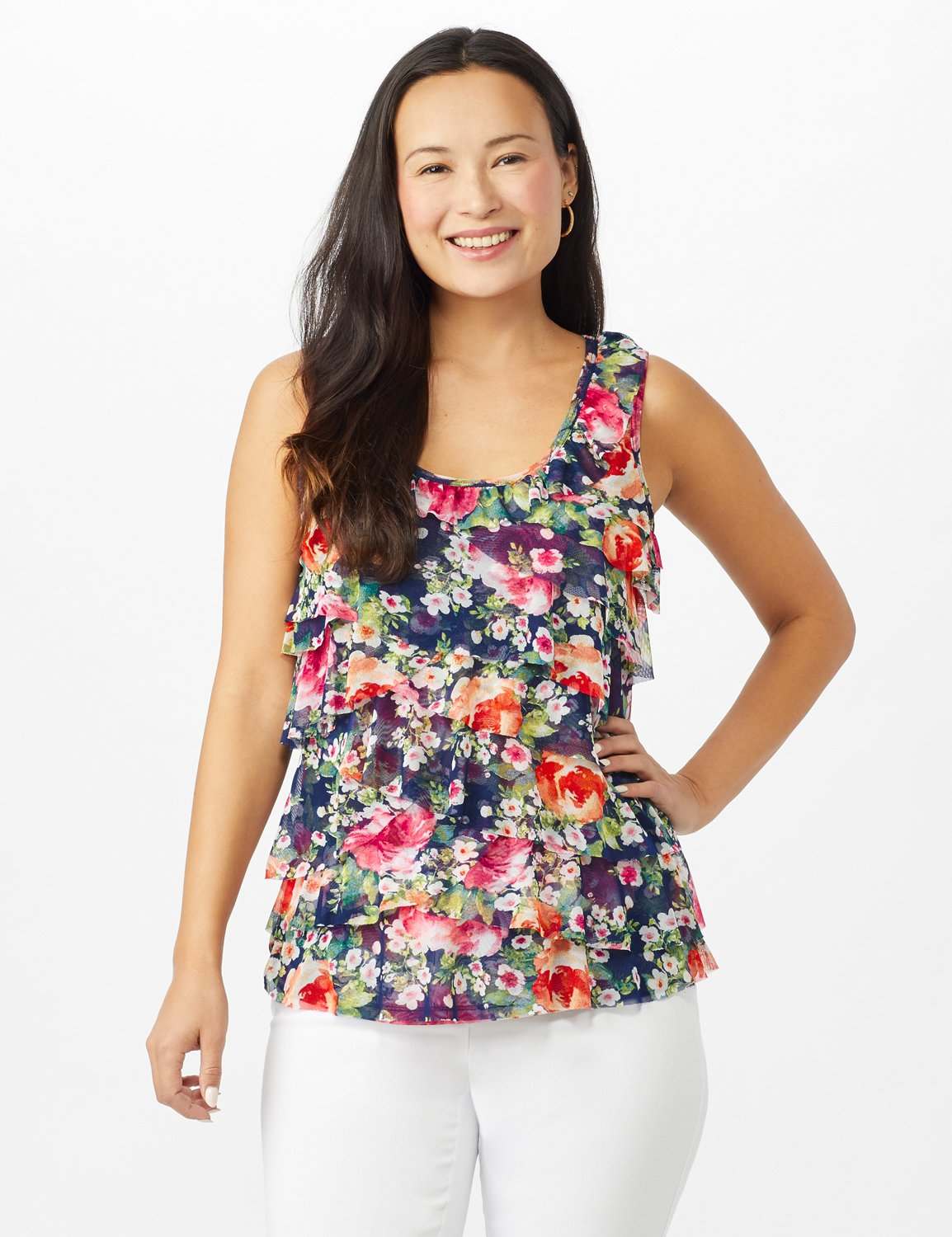 Tie Dye Mesh Ruffle Knit Top - Misses -Navy - Front