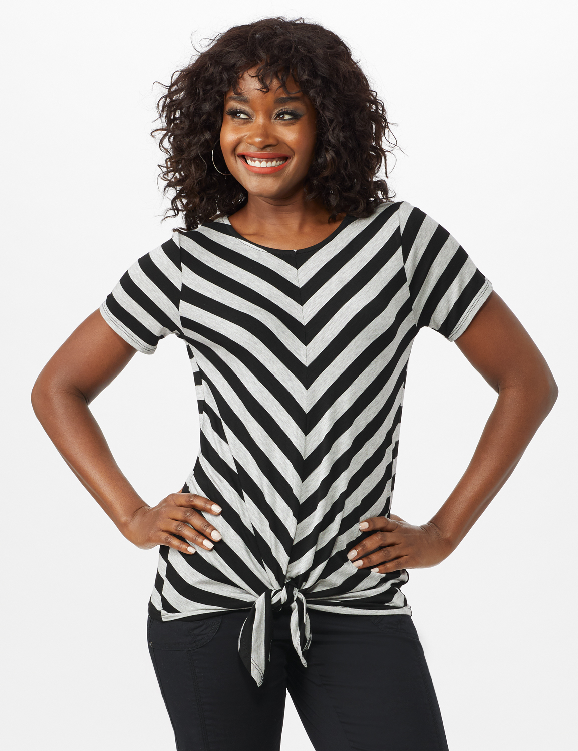 Mitered Stripe Tie Front Knit Top -Grey/Black - Front