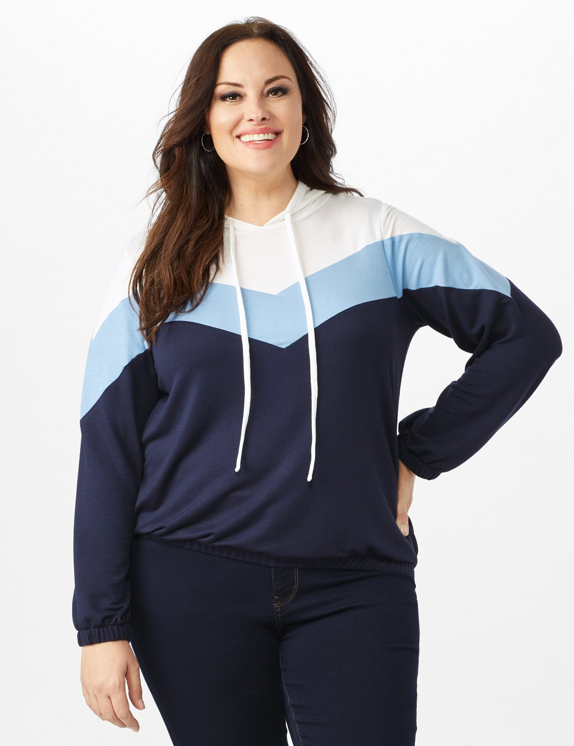 Color Block Self Tie Hoodie - Plus -Blue - Front