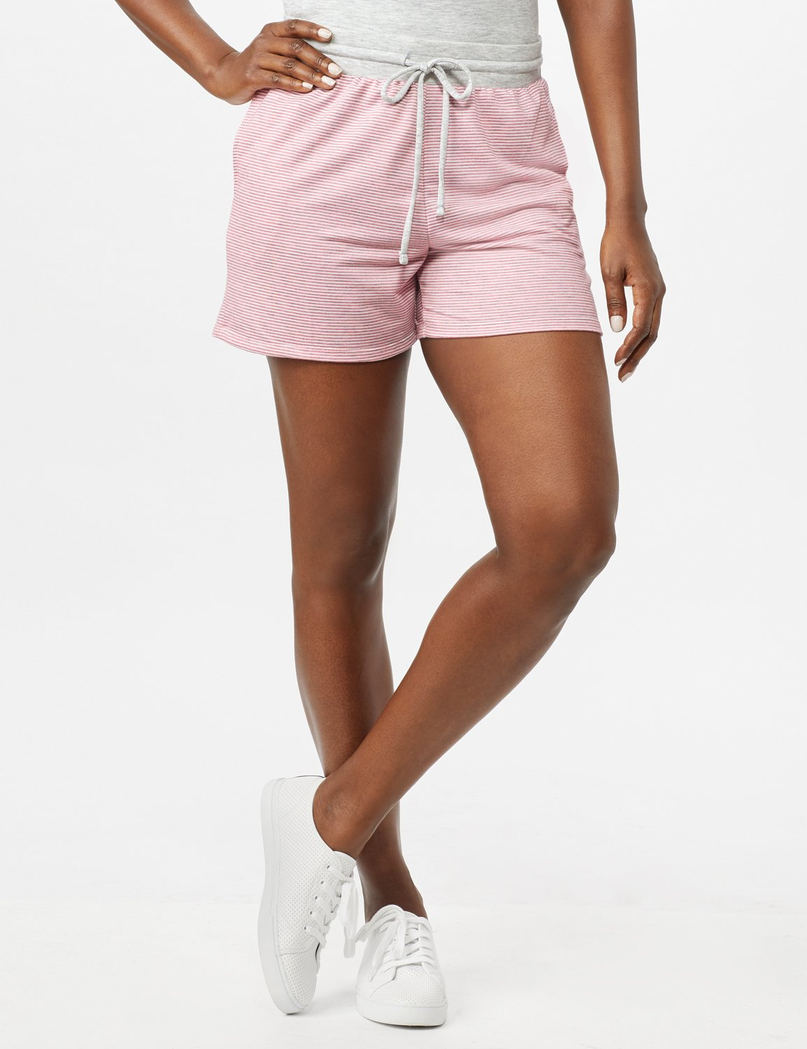 Stripe Drawstring Knit Shorts -Pink - Front