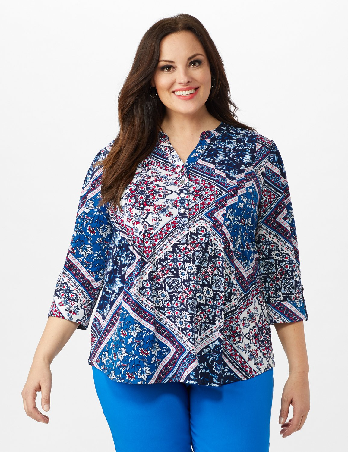 Patchwork Pintuck Popover -Blue - Front