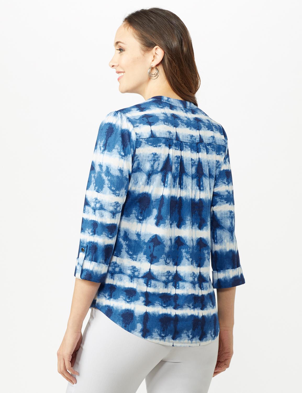 Tie Dye Stripe Pintuck Popover -Blue - Back