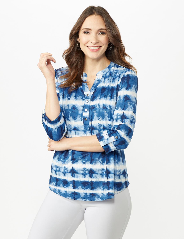 Tie Dye Stripe Pintuck Popover -Blue - Front
