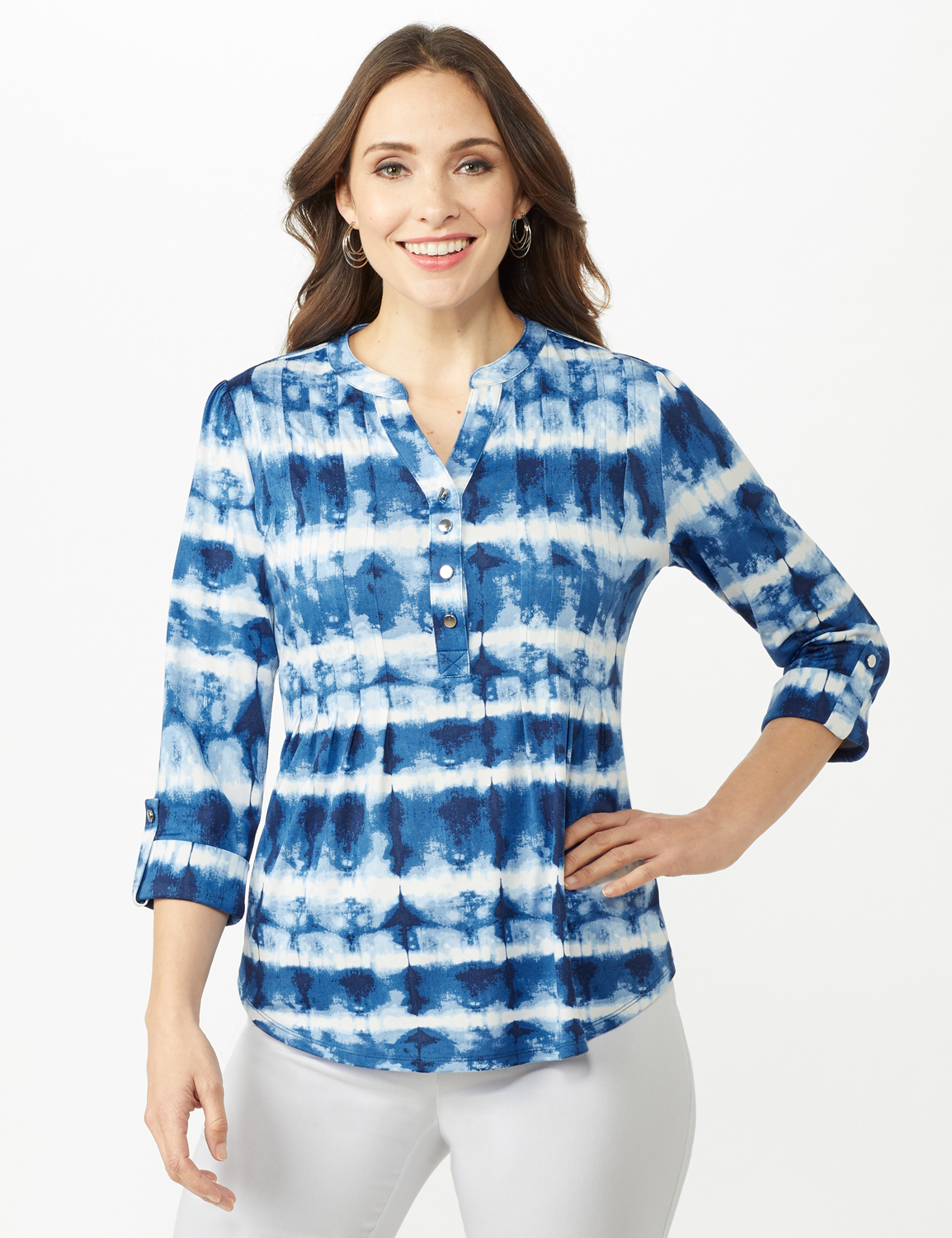Tie Dye Stripe Pintuck Popover - Blue - Alternate Image