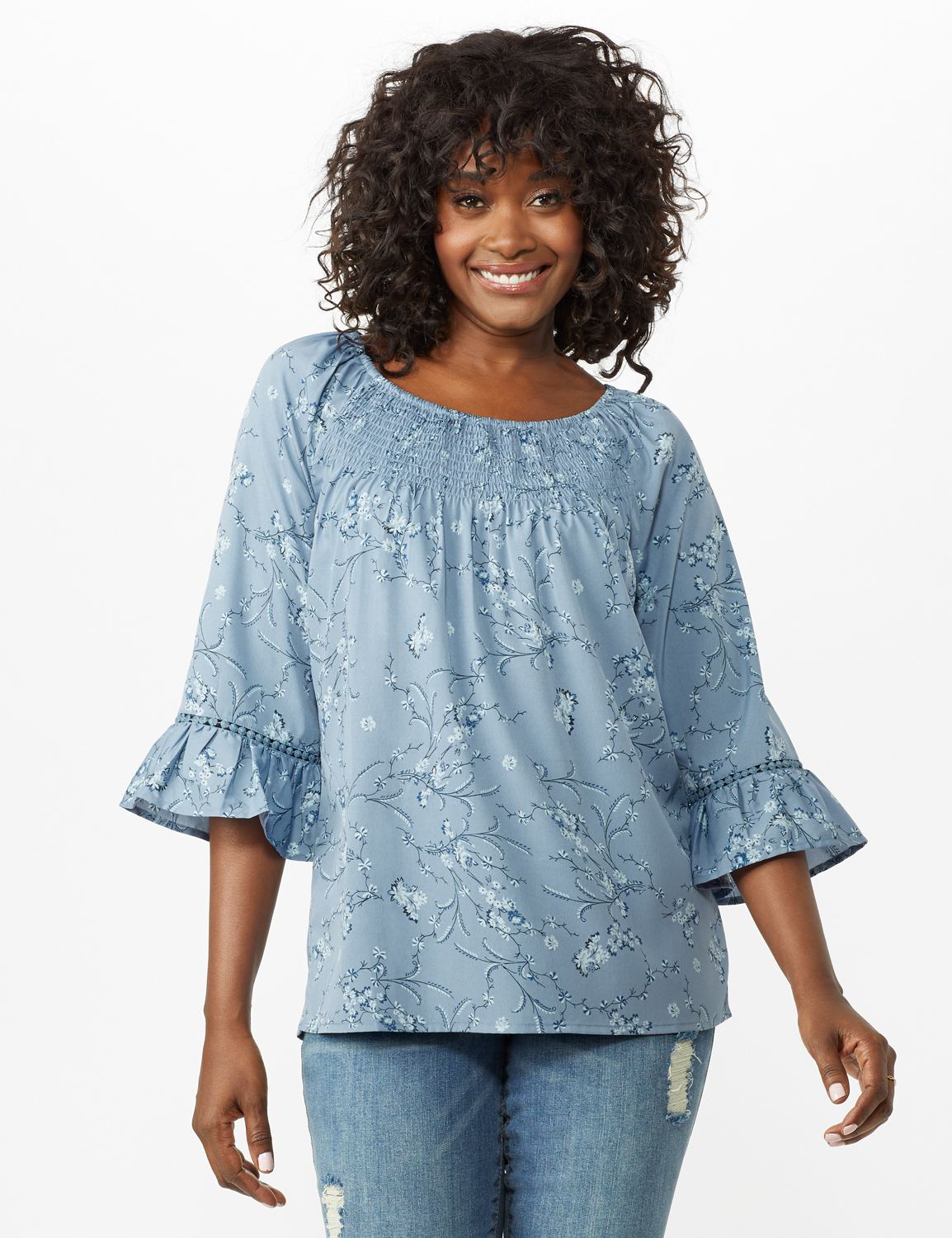 Flare Sleeve Smock Neck Vine Floral Top - Misses -Blue - Front