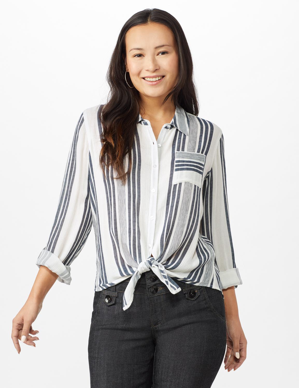 Verigated Stripe Roll Tab Shirt -Denim Blue - Front