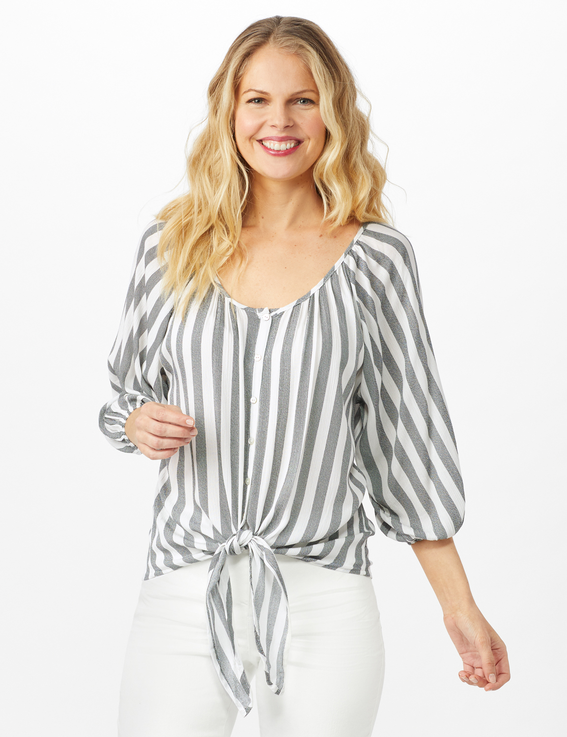 Stripe Button Front Peasant Top -Black/Ivory - Front