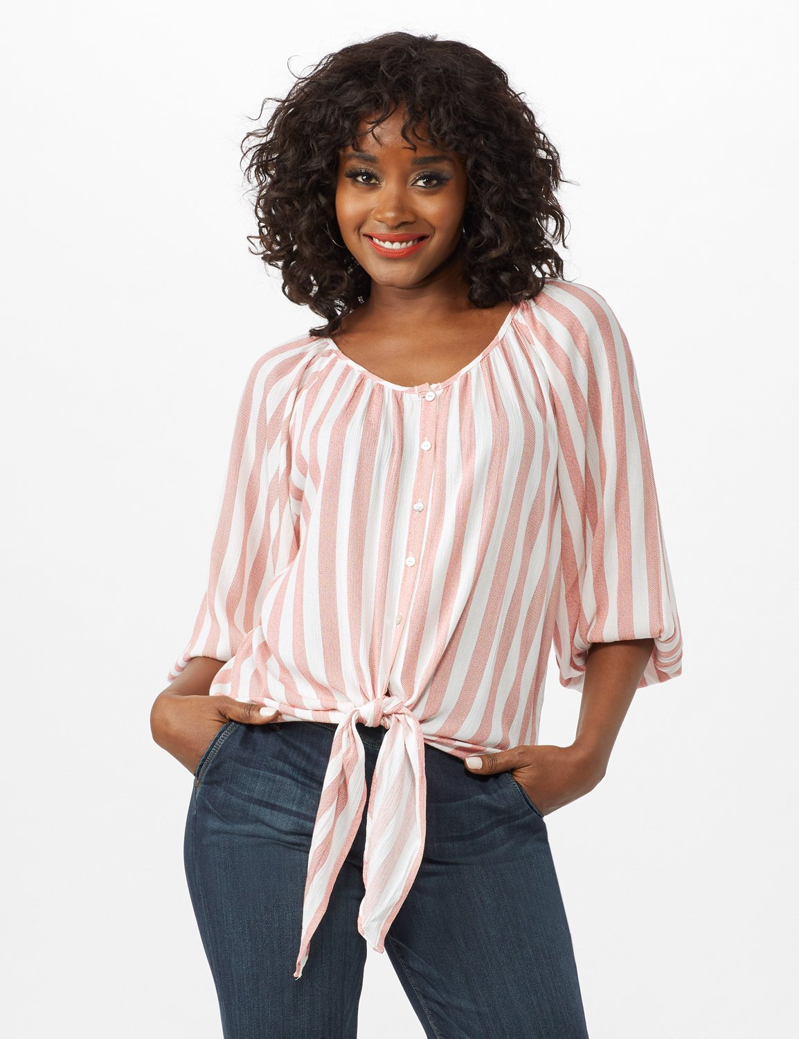 Stripe Button Front Peasant Top -Coral/Ivory - Front