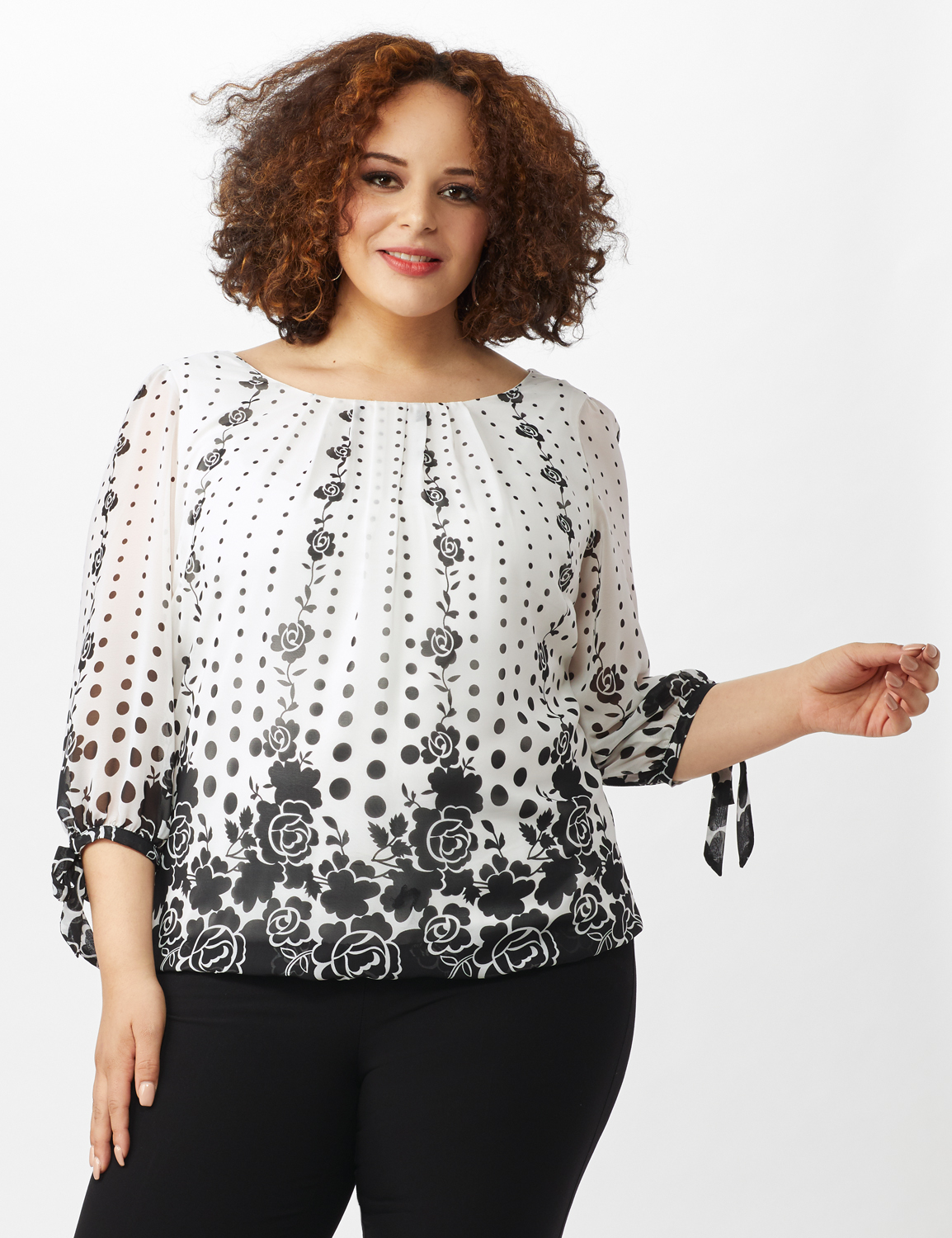 Placed Floral Tie Sleeve Bubble Hem Blouse -Off White - Front