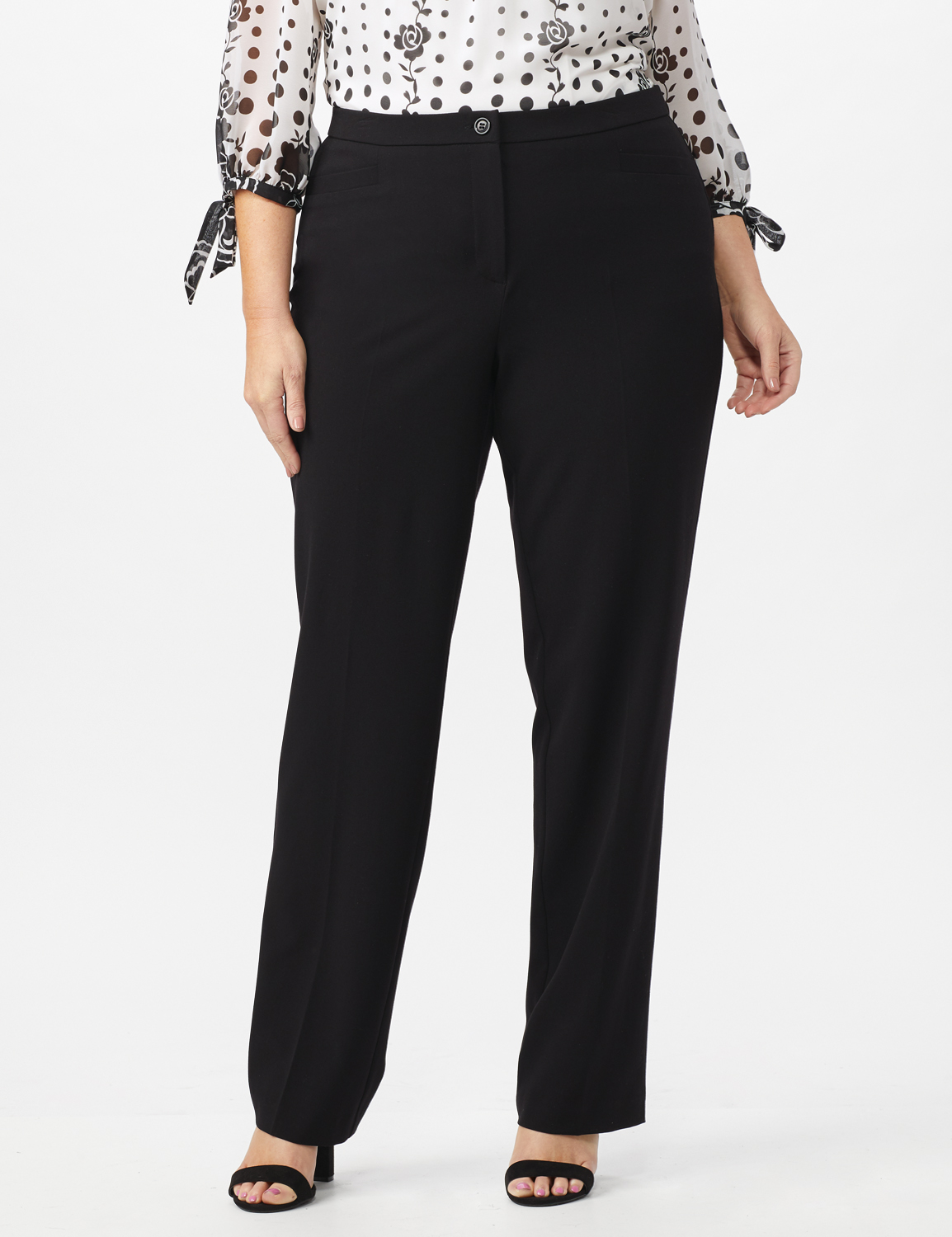 Pre Order Secret Agent Trouser with Cateye Pockets & Zipper- Short Length -Black - Front
