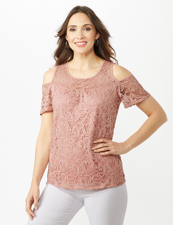 Lace Cold Shoulder Knit Top -Blush - Front