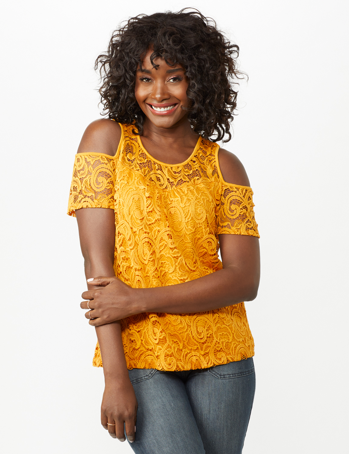 Lace Cold Shoulder Knit Top -Mustard - Front