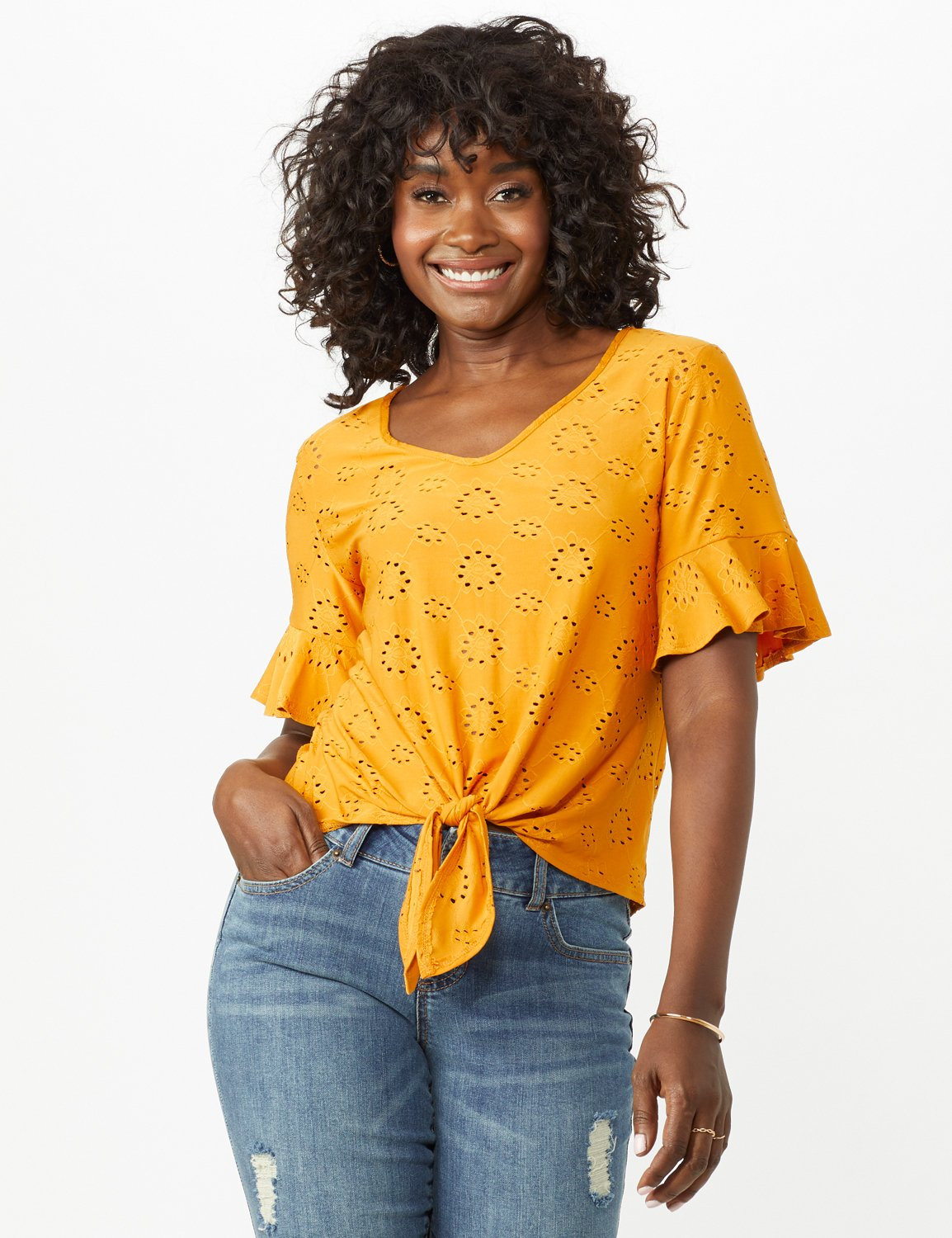 Eyelet Flounce Sleeve Tie Front -Mustard - Front