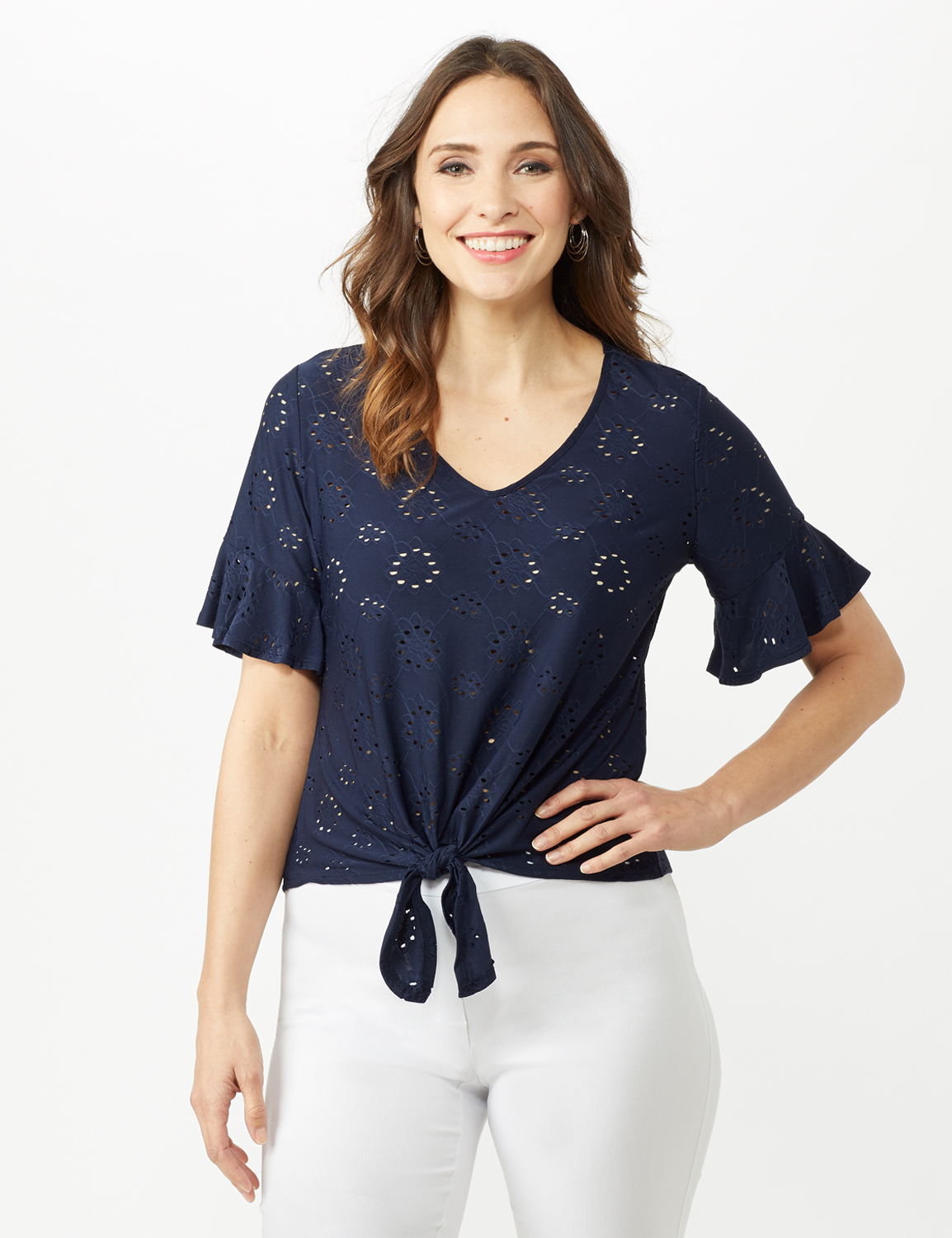 Eyelet Flounce Sleeve Tie Front -Navy - Front