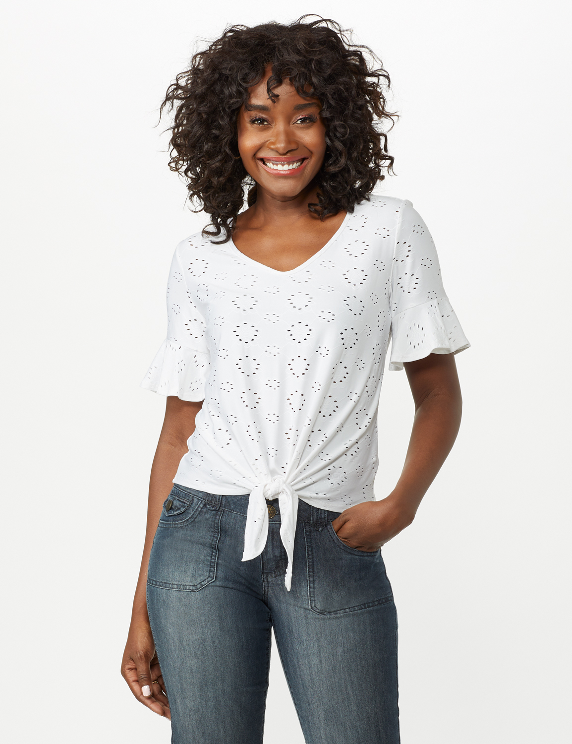 Eyelet Flounce Sleeve Tie Front -White - Front