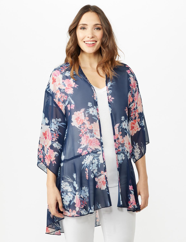 Floral Chiffon Flounce Hem Woven Kimona -Blue - Front