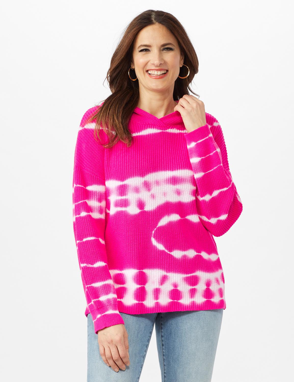 Tie Dye Hoodie Sweater -Hibiscus Pink - Front