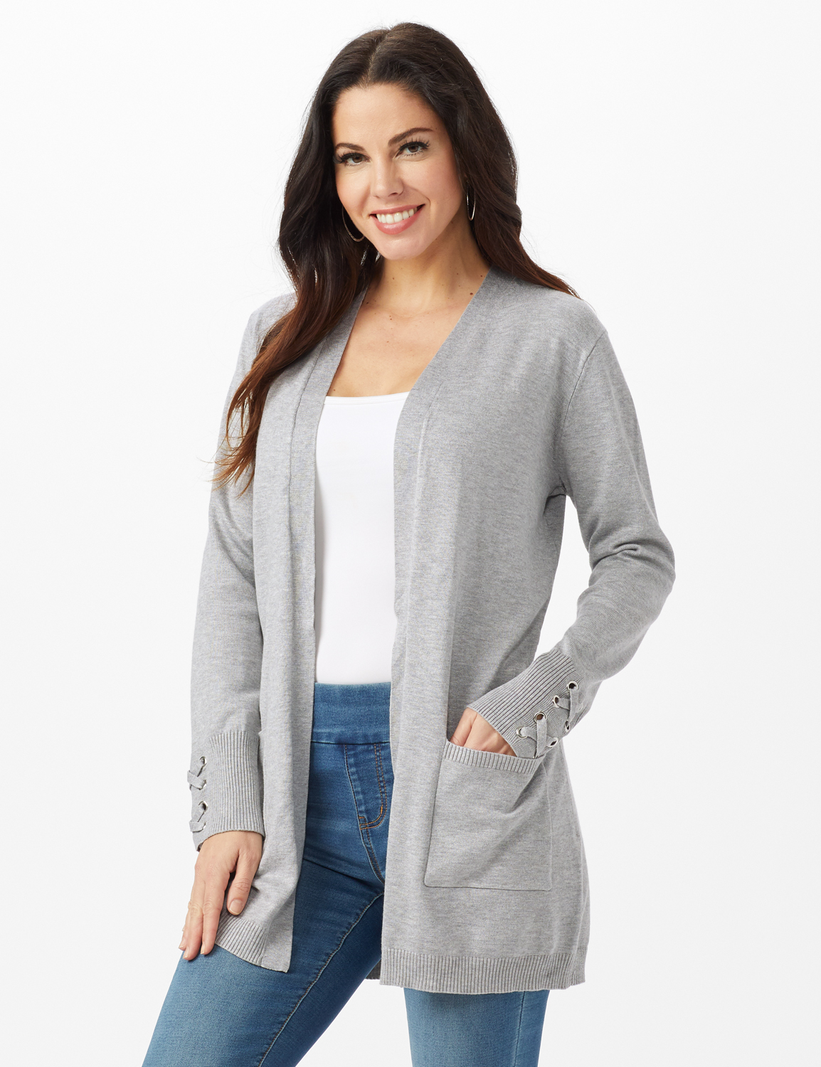 Grommet Lace-Up Trim Open Cardigan -Light Heather Grey - Front