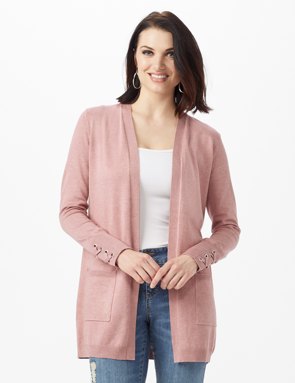 Grommet Lace-Up Trim Open Cardigan -Rose Heather - Front