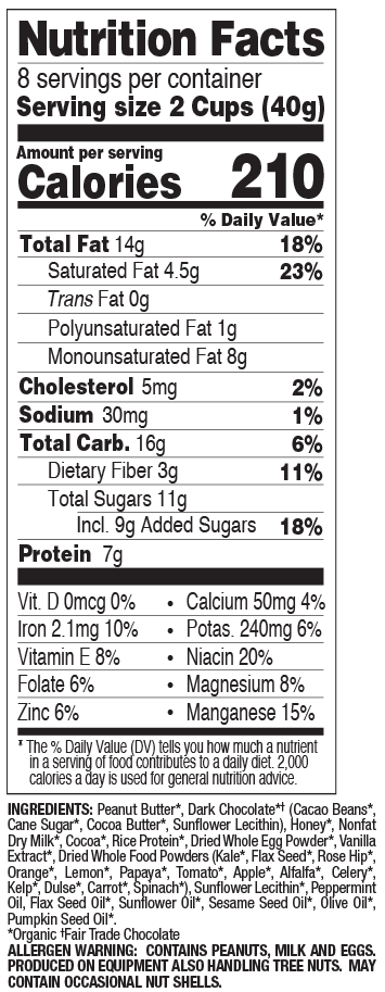 Dark Chocolate Mint nutritional information