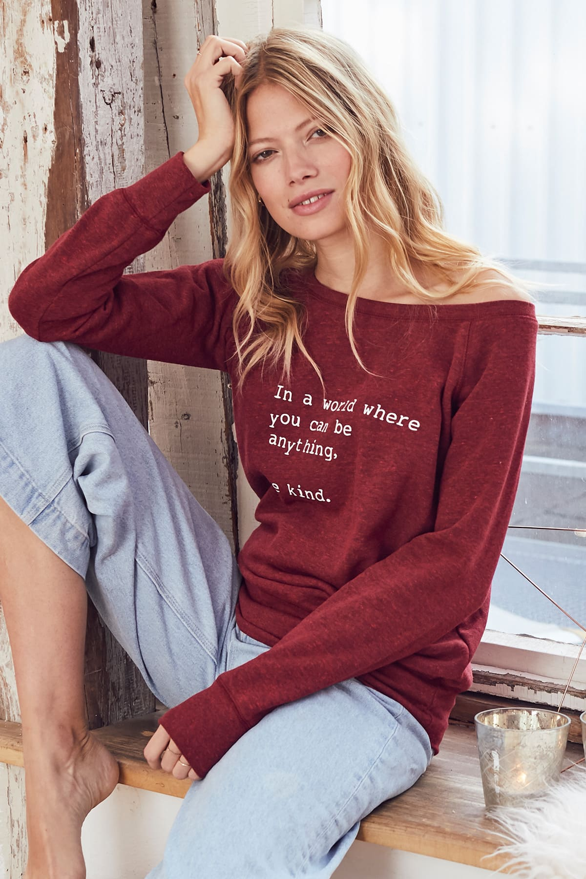 """""""Be Kind"""" Cozy Pullover -Cranberry - Back"""