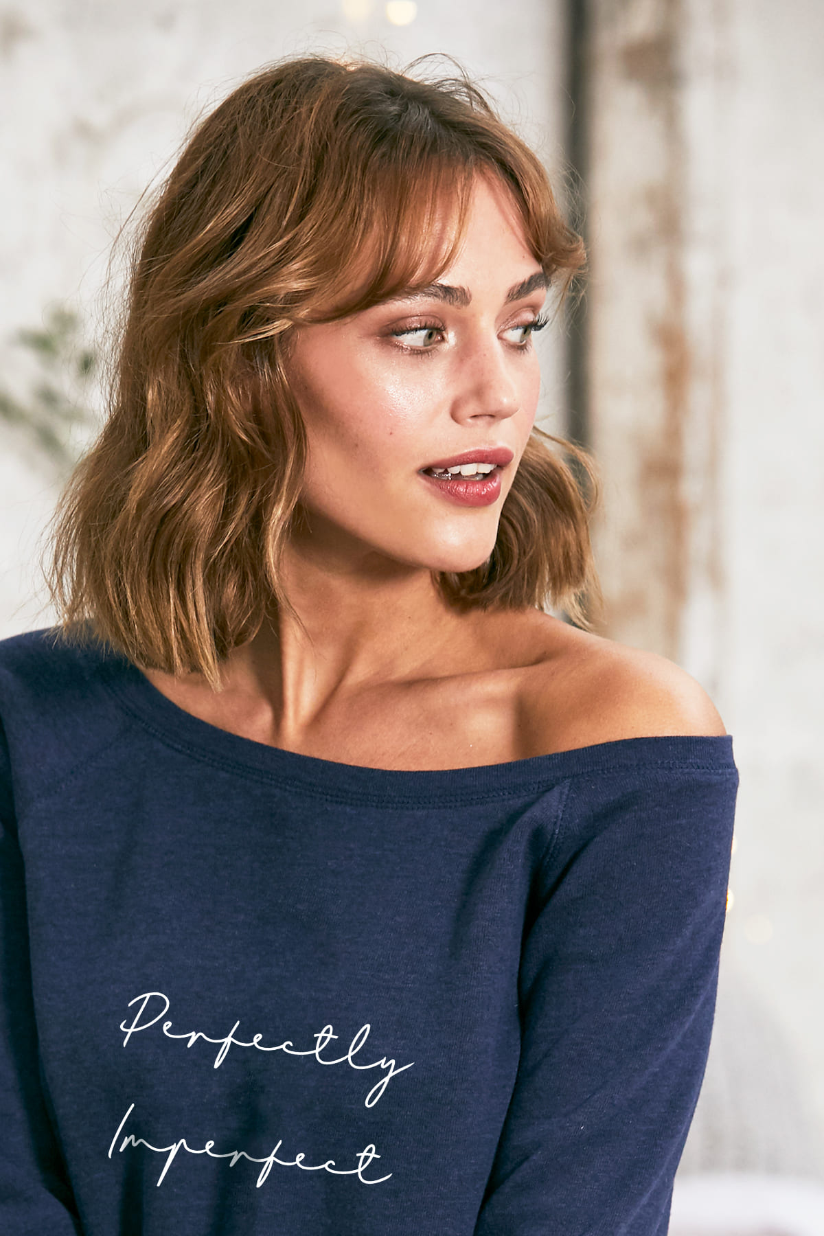 """Perfectly Imperfect"" Cozy Pullover -Navy - Back"