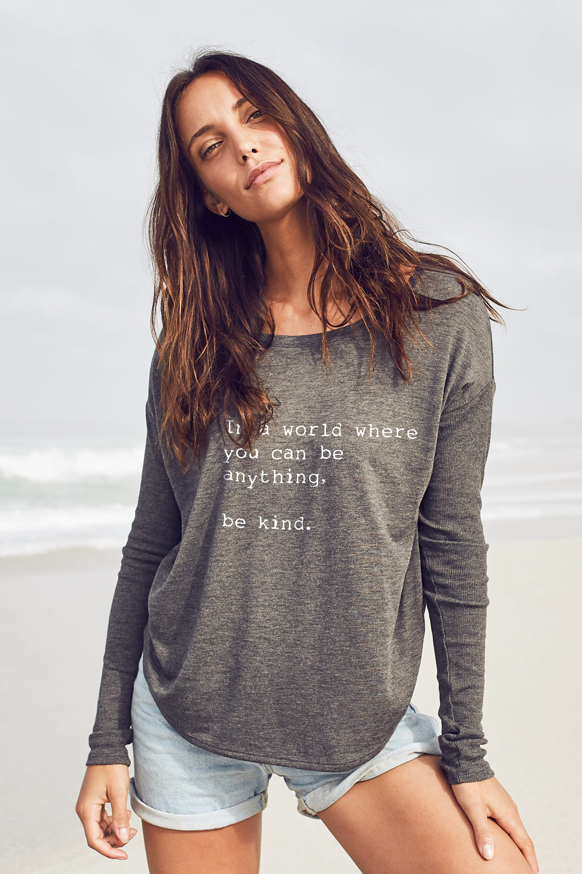 """Be Kind"" Long Sleeve Tee -Dark Grey - Front"