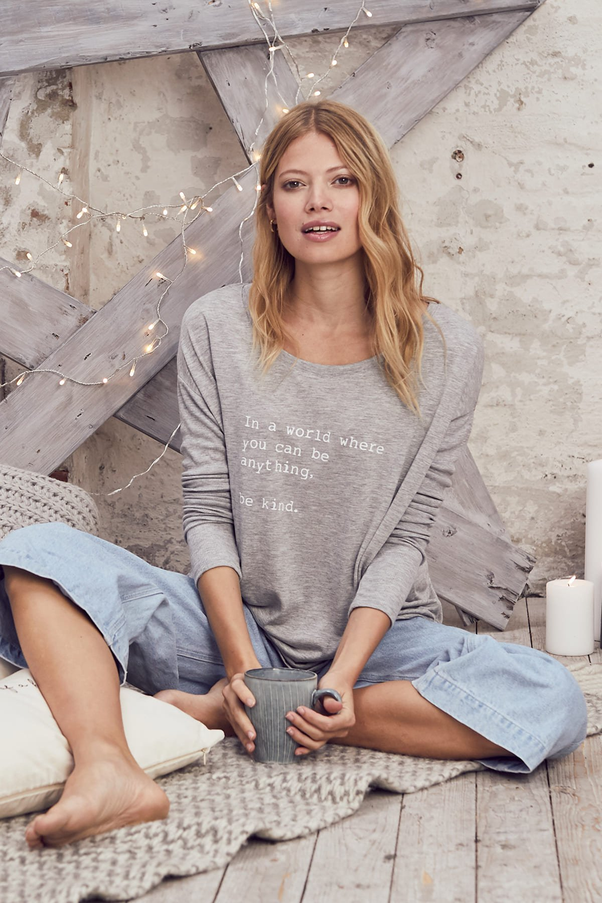"""""""Be Kind"""" Long Sleeve Tee -Mineral Grey - Front"""