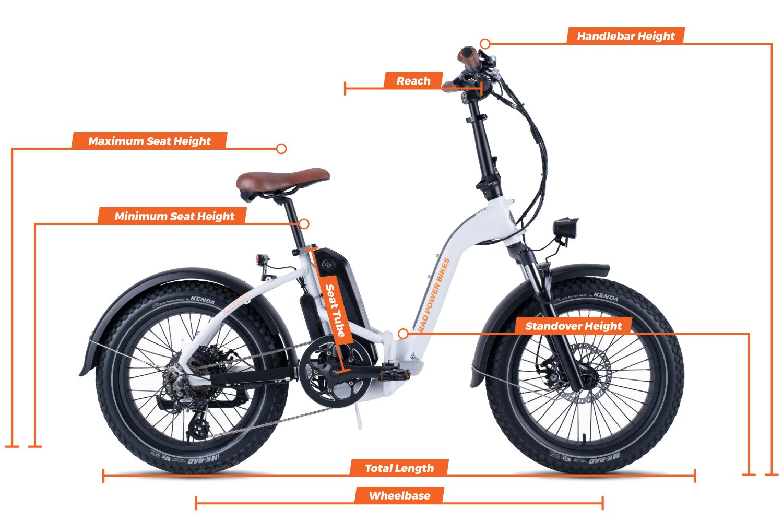 Geometry chart for the RadMini Step-Thru Electric Fat Bike Version 2