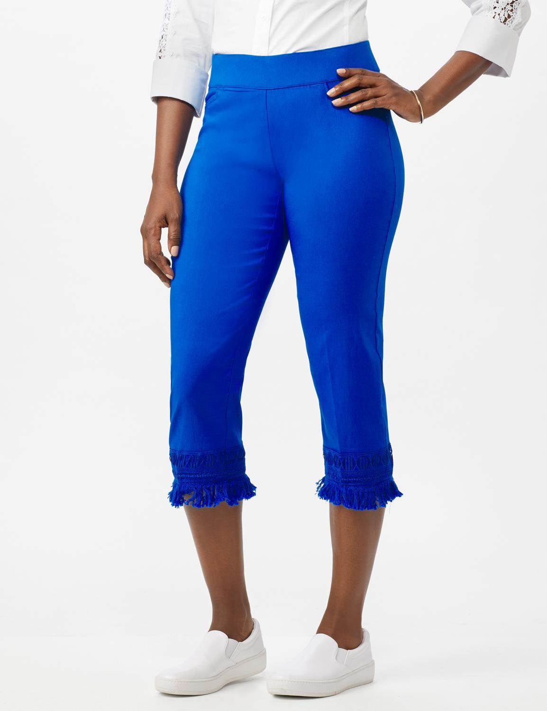 Pull on Crop Pants with Novelty Fringe Hem -Princess Blue - Front