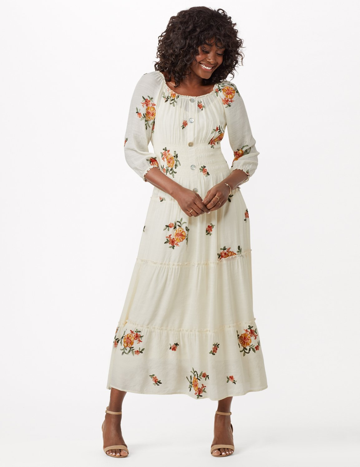 Embroidered Textured Peasant Dress - Ivory - Detail