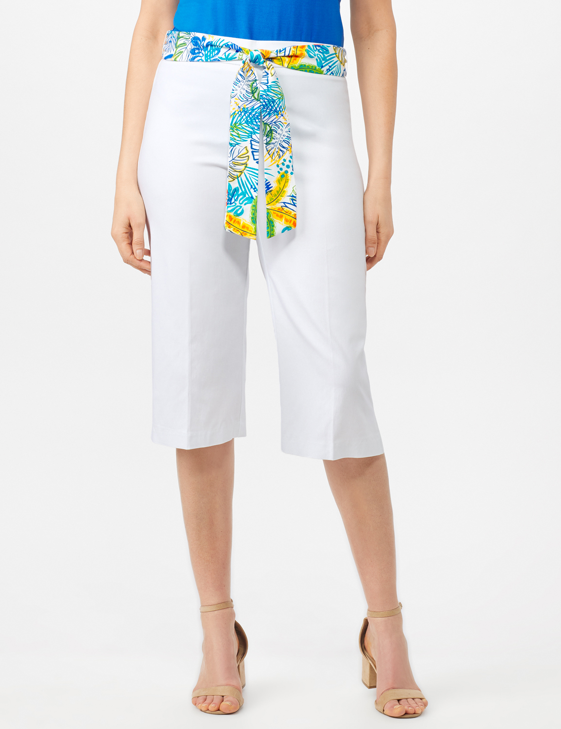 Pull On Crop Pants With Printed Tie Sash -White - Front