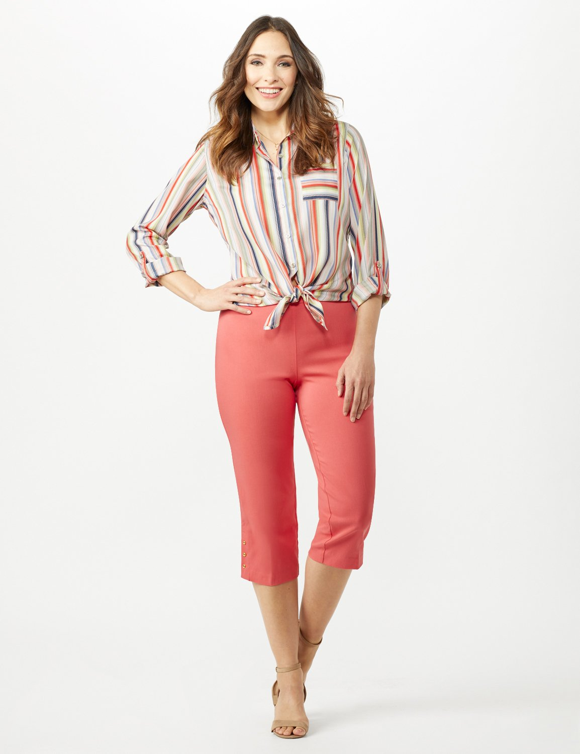 Pull On Crop Pants -Coral - Front