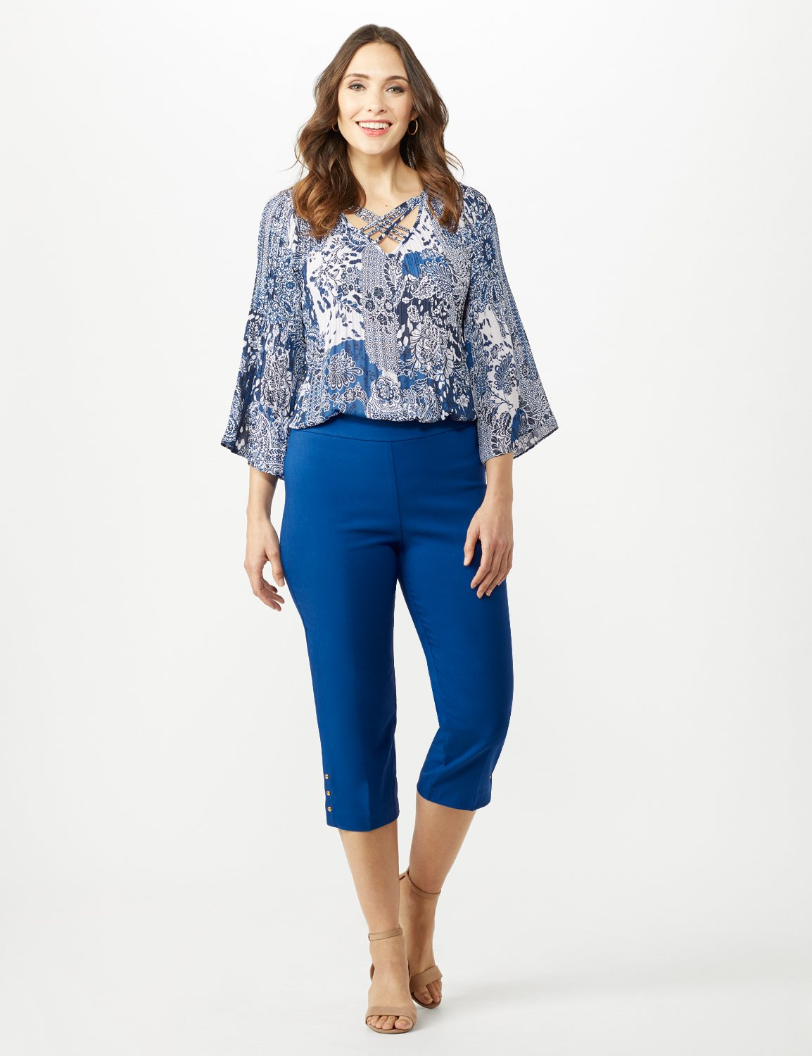 Pull On Crop Pants -Marine Blue - Front