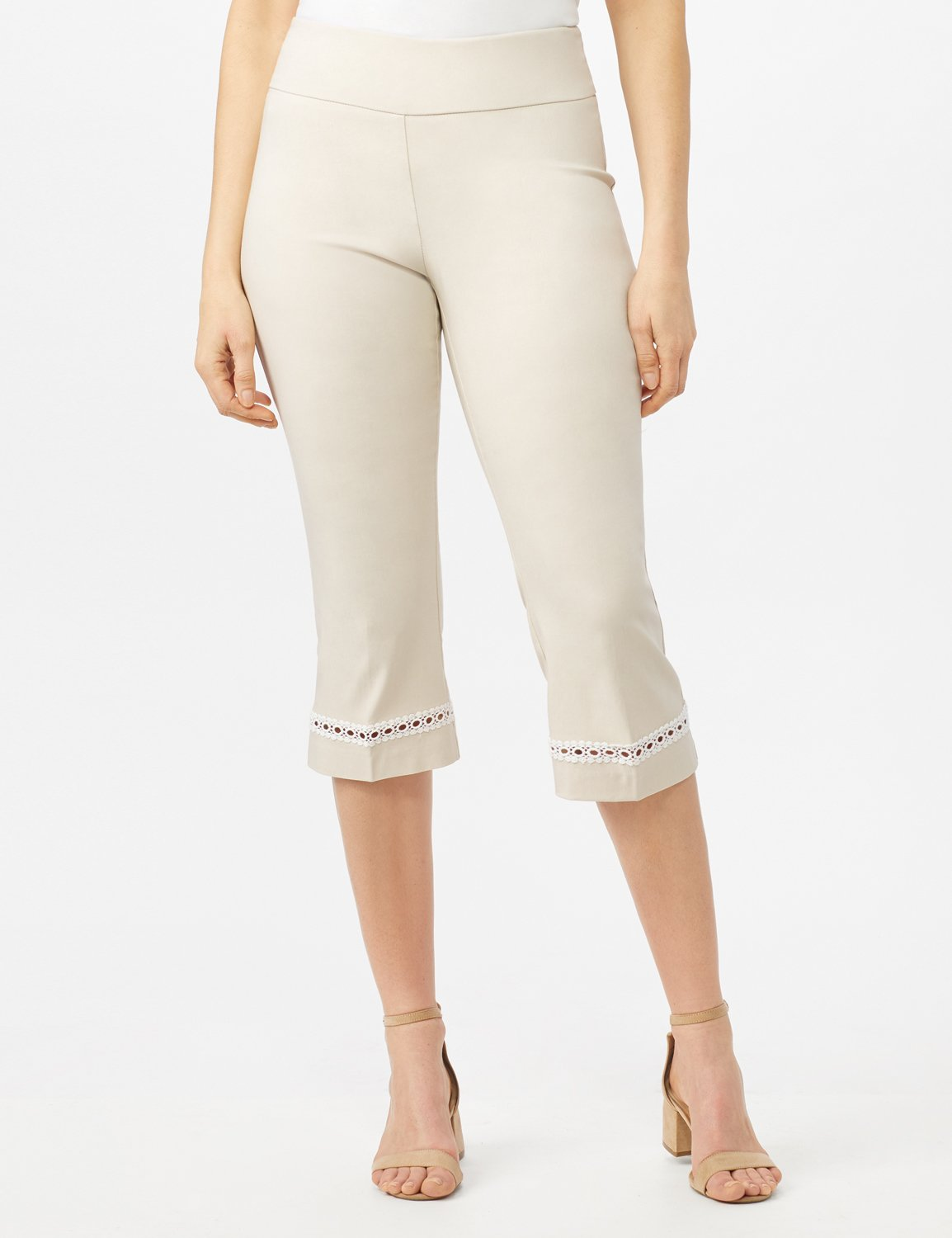 Pull On Crop Lace Hem Pants -Oatmeal - Front
