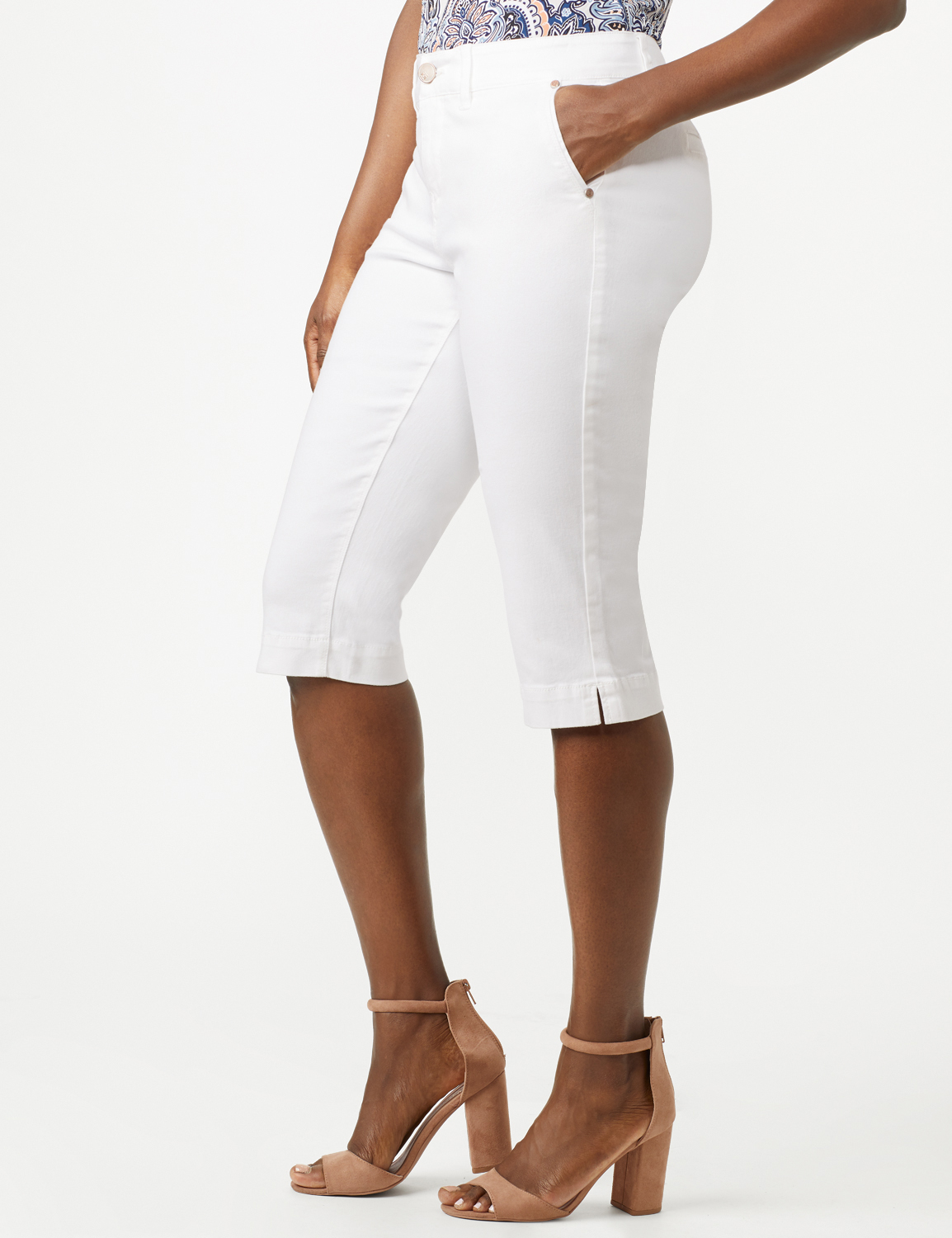 Mid Rise Skinny Petal Pusher With Goddess Fit Solutions -White - Front