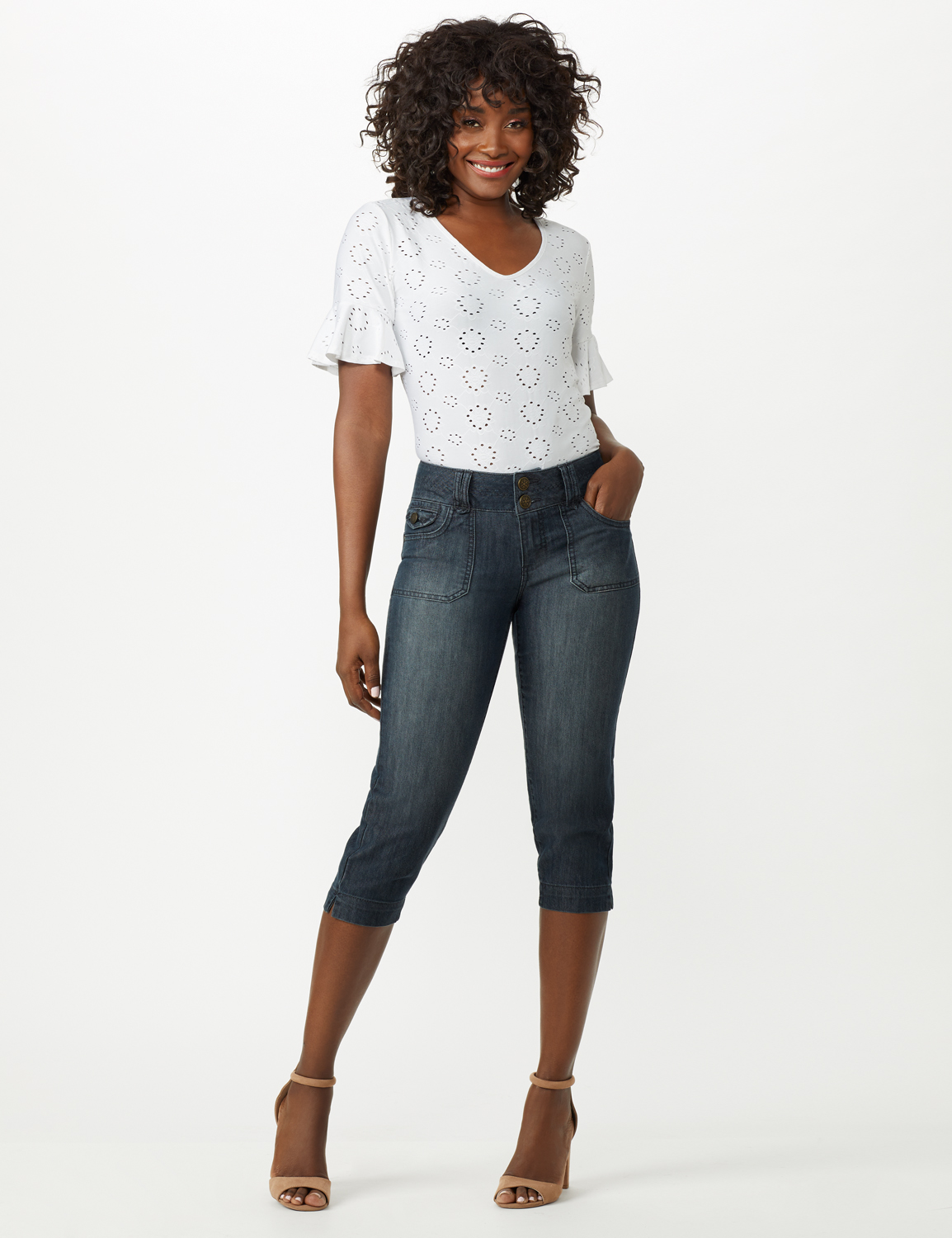 2 Button Capri With Front Pocket and Back Flap Pkts -Riviera Blue Wash - Front