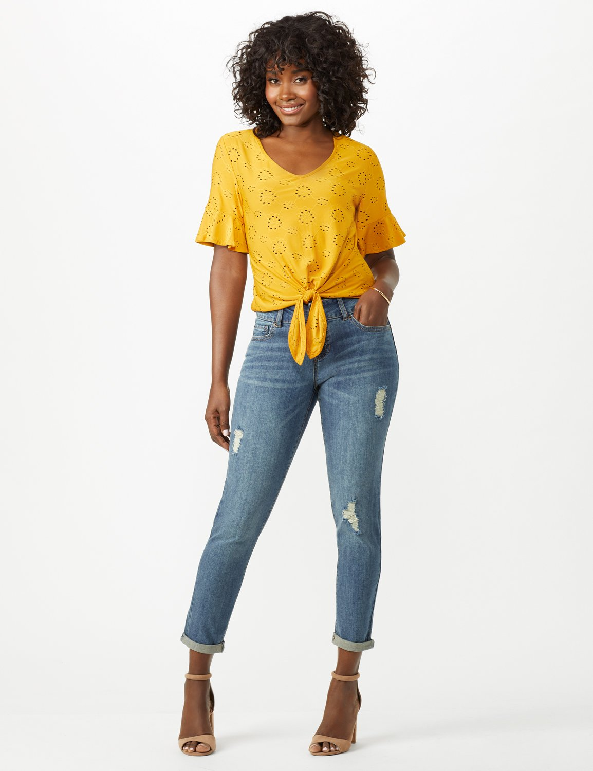 2 Button Waistband Jean, Ankle Length Mid Rise Skinny -Med Stone Wash - Front