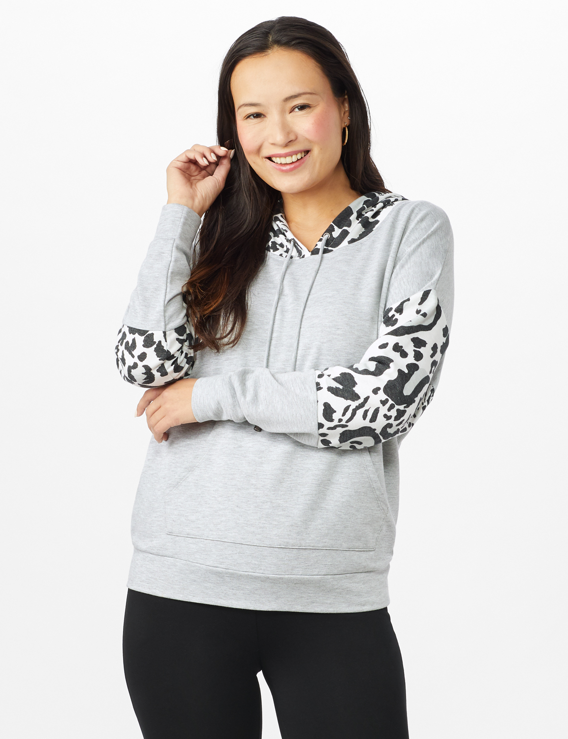 Leopard Trim Mix Media Hoodie -Heather Grey - Front