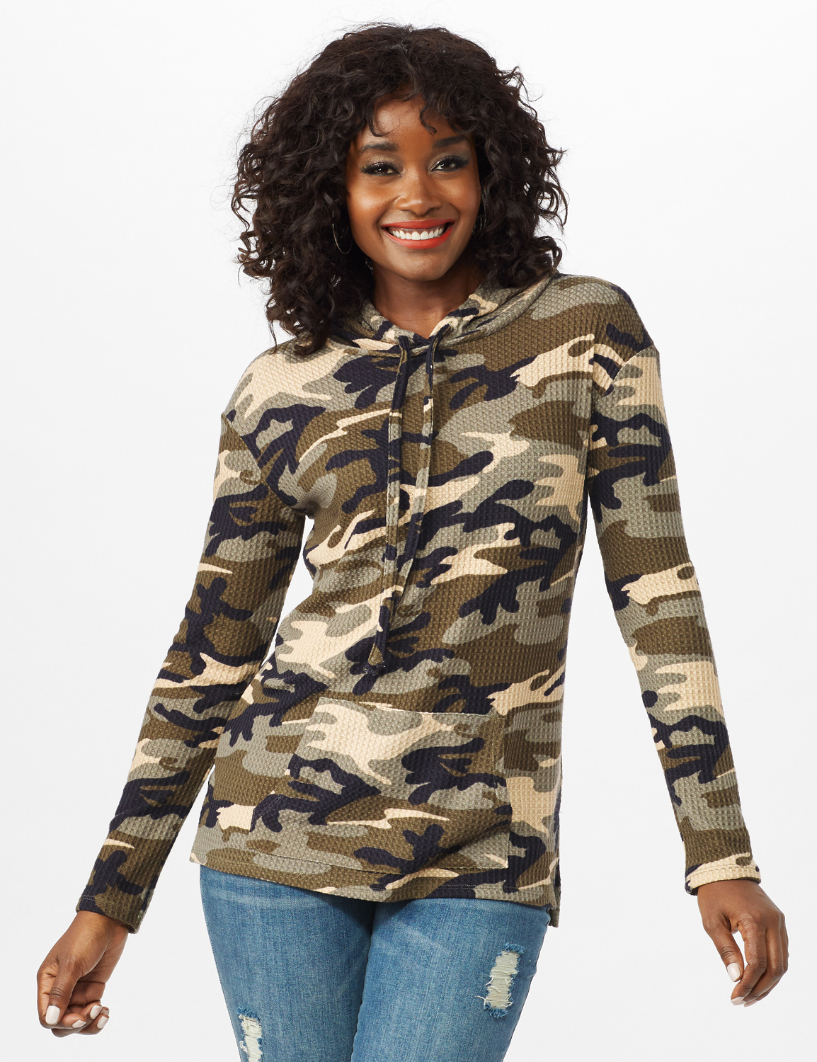Camo Thermal Hoodie -Olive - Front